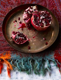 "My Bohemian Menu   ""In almost every religion the pomegranate has been used as a symbol of  humanity's most fundamental beliefs and desires, life and death, birth  and eternal life, fertility and marriage, abundance and prosperity.""  Source."