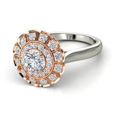 Round Diamond 14K White Gold Ring with Diamond | Jessamine Ring | Gemvara