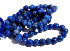 1 Strand 6mm Irregular Round Natural Lapis Lazuli by GodivaJewels, $6.25