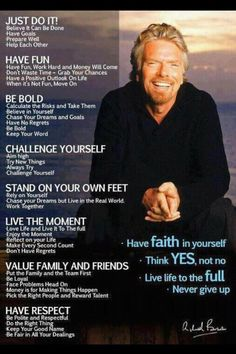 Love these words from Richard Branson, I mean, Sir Richard Branson!