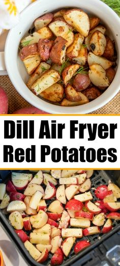 Air fryer red potatoes with dill and garlic are the best side dish with any dinner. Inexpensive yet full of flavor, you've got to try these tonight. Fried Red Potatoes, Air Fry Potatoes, Dill Potatoes, Red Potato Recipes, Pork Recipes, Cooking Recipes, Chicken Recipes, Vegan Recipes, Easy Dinner Recipes