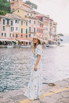 Outfit Details: Privacy Please Dress (romper version here), Ancient Greek Sandals, Preston & Olivia Hat   Like I mentioned in yesterday's post, we arrived to Portofino and kept our first afternoon pre