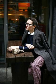 Woman with mens wool coat