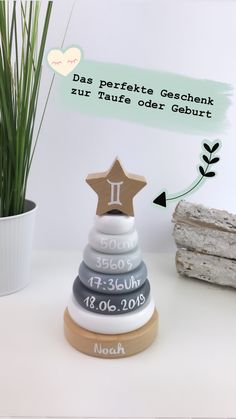 Taufgeschenk The perfect gift for baptism or birth Paper Crafts, Diy Crafts, Christening, Presents, About Me Blog, Place Card Holders, Gifts, Daniel Wellington, Baby Baby