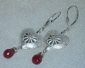 925 Sterling Silver Beautiful Heart with Wirewrapped Faceted Ruby  Beaded Earrings
