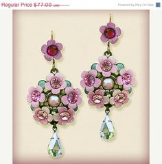 ON SALE Orly Zeelon The Bouquet Rosette Earrings