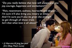 It's Okay, That's Love quote : Jo In Sung as Jang Jae-yeol & Gong Hyo-jin as Ji Hae-soo