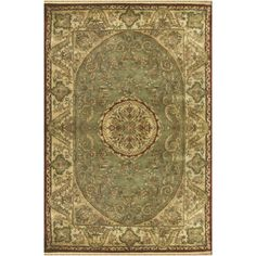 Savonnerie Hand-Tufted Sage Green Area Rug