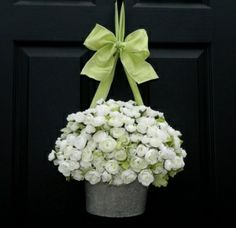 Hang a Wreath with Ribbon | Hanging flower pot on front door via wreath hook and ribbon. Great ...