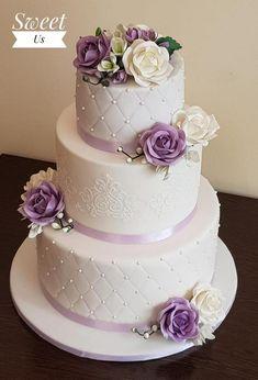Purple Cakes, Purple Wedding Cakes, Amazing Wedding Cakes, Wedding Cakes With Flowers, Wedding Cake Decorations, Wedding Cake Designs, Wedding Ideas, Quinceanera Cakes, Beautiful Cakes