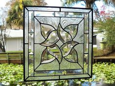 Traditional Stained Glass Window Panel with Beveled Stained Glass