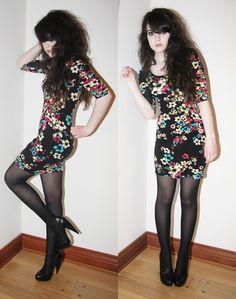 Seduction Floral Print Dress, Ardene Black Patterned Tights, Aldo Black Platforms