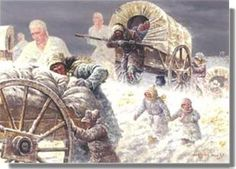 """""""When the Angels Come"""" - art by Clark Kelly Price;  Members of handcart companies often said it felt as though """"the cart began pushing me."""""""