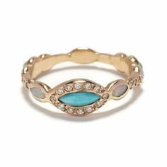 Elisa Solomon Jewelry 18 karat pink gold marquis ring with turquoise, opals, and diamonds, available at elisasolomon.com