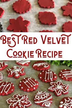 The Best Red Velvet Cookie Recipe Neda's Nummees kitchen tested recipe. If you are like me you love red velvet anything! Something about that vivid red that makes it so appealing. Christmas Sugar Cookies, Christmas Sweets, Christmas Cooking, Holiday Cookies, Valentine Cookies, Easter Cookies, Birthday Cookies, Christmas Cut Out Cookie Recipe, Christmas Cookies Cutouts