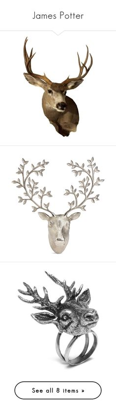 """James Potter"" by aure-white ❤ liked on Polyvore featuring home, home decor, decor, deer antler home decor, antler home decor, deer home decor, jewelry, rings, vintage silver and deer ring"