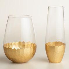 Gold Stemless Wine Glasses, Set of 4 - v2