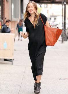 Olivia Wilde Shows Off Her Growing Bump in a Casual-Chic Maxidress from InStyle.com