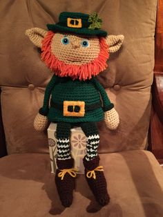 Crocheted Leprechaun - christmas elf Snuggle Buddy @memawscountrycrafts - etsy