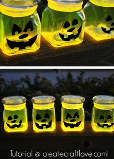 Free Tutorial! Spook up your patio with these adorable glow stick pumpkin jars.