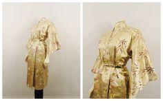Vintage Kimono Robe Gold Brown Beige Satin by 2sweet4wordsVintage
