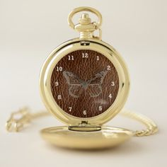 Leather-Look Butterfly Pocket Watch - diy cyo customize create your own personalize