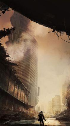 ArtStation - Destroyed street, Vitaliy Smyk | Post apocalypse, ruined city | fog, deserted
