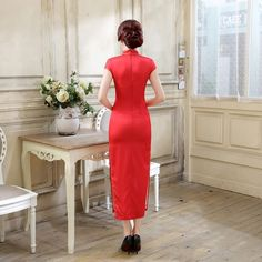 Long length Satin Fabric Cheongsam Qipao Chinese dress C0065-C Details 01