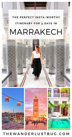 Love exploring new, instagrammable places? Then Marrakech is the one. This awesome itinerary for 3 days in Marrakech will get you to all the most popular spots, the tastiest restaurants, the best views and the perfect places to get those insta-pics. Featuring the medina, Jemaa el-Fnaa, La Mamounia Hotel, Bahia Palace, Le Jardin, Ben Youssef Madrasa, Jardin Majorelle, Tanneries, Le Riad Yasmine, Koutoubia Mosque, Essaouira, Camels & Nomad Rooftop Restaurant. <3 Click for more...