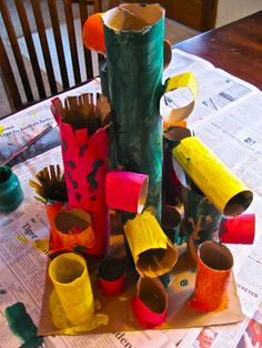 the kids like making these. they take several days: glueing then painting then adding paint details.