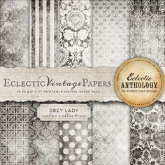 Eclectic Vintage Printable Papers - Grey Lady