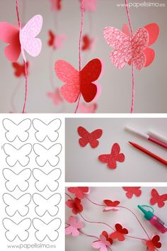 Guirnalda Mariposas de Papel - My Decor - Home Decor Ideas SchoolParty Arts and Science Activities Sharing Site Easy spring crafts: 20 ideas for good weather Make red garlands with paper butterflies, beautiful decoration for the nursery Source by michaelh How To Make Butterfly, Butterfly Crafts, Diy Butterfly Decorations, Butterfly Canvas, Origami Decoration, Butterfly Mobile, Wedding Decorations, Paper Butterflies, Paper Flowers