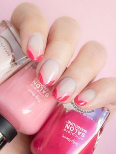 This is not your average French tip. Maria of So Nailicious created this manicure by painting curved lines in a light pink polish before applying the same design over the first one in a darker hue.