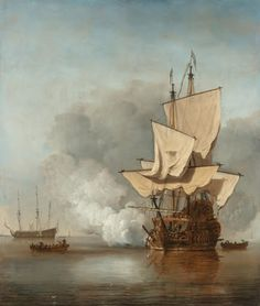 This painting is the pendant of 'The gust', which depicts a ship in a raging storm. In both works the vessel is rendered in detail, reflecting the artist's...