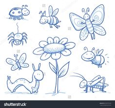 stock-vector-set-of-cute-little-cartoon-insects-and-small-animals-bugs-bee-caterpillar-butterfly-firefly-339767528.jpg (1500×1414)