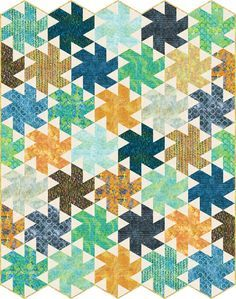 Tiny Dancer designed by Jaybird Quilts. Features #ArtisanBatiks Helsinki, shipping to stores February 2017.  Fat quarter friendly. Pattern available for purchase (jaybirdquilts.com).