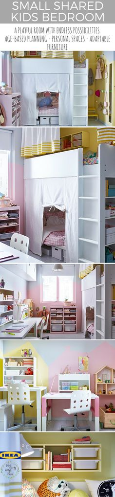 IKEA always has amazing ideas.... and this one was the cherry on top for what I had in mind for a shared girls room. This is the perfect idea for a small space, yet with endless possibilities. I love the idea that more people are starting to go smaller, with tiny homes on wheels, small cottages...you name it. I love the idea of peacefully working together a family in a small space, in my opinion it brings us closer together and less cleaning (bonus for me)! Ikea List [wc_row][wc_column…
