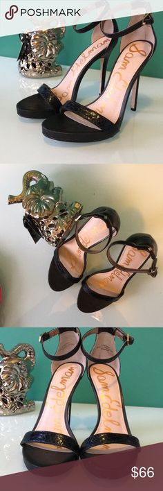 🦋Eleanor crepe ankle strap sandal by Sam Edelman Beautiful Sam Edelman sandal. This beauty features a embossed leather upper shoe.  It has Ankle strap with closure. Also, man made lining.  Wrapped heel.  Some light wear. -as shown  Heel 4 3/4 inches  platform 3/4 inches Authentic Sam Edelman Shoes Sandals