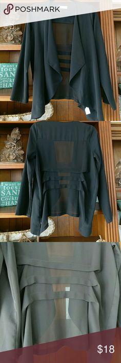 Sheer black bolero Sheer material . Great for over evening wear or dressy tank. Sophie Rue Tops Blouses