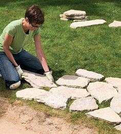 creative small flagstone patios | Dry-lay stones next to site
