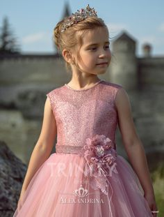 Flower girl dress for a wedding, birthday or any special day. Luxury pageant dresses by Alexandrina. Pageant Dresses, Bridal Dresses, Flower Dresses, Nice Dresses, Baby Dress, Pink Dress, Pretty Pink Princess, Dress Anak, Kids Frocks