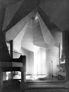 The Pilgrimage Church was designed by , German architect Gottfried Böhm in 1963 /in Neviges, Germany
