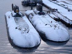 ・・・ ・・・ Two Typhoon class nuclear powered ballistic missile submarines, Arkhangelsk and Severstal. Old Brown Shoe, Cruisers, Soviet Navy, Russian Submarine, Nuclear Submarine, Yellow Submarine, Navy Ships, Military Equipment, Submarines