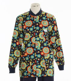 Womens Crew Neck Lab Jacket in Country Garden. Matches Lemonade, Navy and Bay Leaf