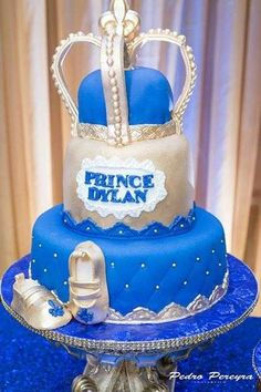 Blue and gold cake at a royal baby shower party! See more party planning ideas at CatchMyParty.com!