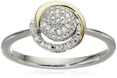 Diamond Earrings Design | SG Sterling Silver and 14k Yellow Gold Diamond Circle Framed Ring Size 7 *** Details can be found by clicking on the image. Note:It is Affiliate Link to Amazon.