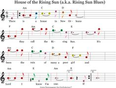 "Guitar Music Sheets for Beginners | House of the Rising Sun"" color coded sheet music for guitar notes."
