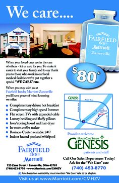 Medical themed flyer designed by #ATH Marketing for the #Fairfield Inn by Marriott in #Zanesville.  www.athmarketing.com