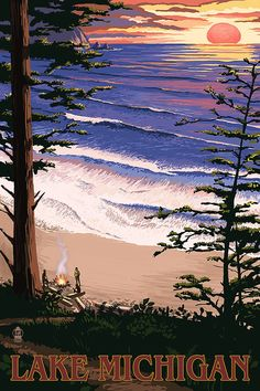 Cambria, California - Sunset & Surfers - Lantern Press Artwork (Art Print Available), Multi Old Poster, Poster Art, Art Posters, Poster Frames, Pismo Beach, Pub Vintage, Vintage Art, Vintage Style, Sunset Beach California