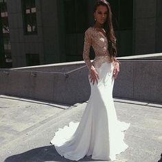 White Mermaid Long Sleeves Seen Through Long Prom Dresses, PM0192